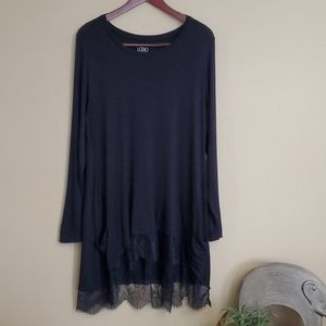 LOGO by Lori Goldstein Lace Trim Tunic with Pocket